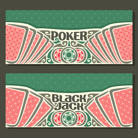 black jack: Vector horizontal banners for Black Jack and Poker: playing cards with red back for gamble game blackjack, chips and card on green felt texture background, banner for black jack and poker tournament. Illustration