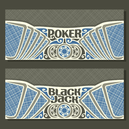 black jack: Vector horizontal banners for Black Jack and Poker: playing cards with blue lines back for gamble game blackjack, chips and card on grey texture background, banner for black jack and poker tournament.