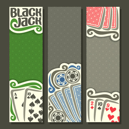black jack: Vector vertical banners Black Jack for text, combination playing cards: ace spades suits 10, 2, 9 for gamble game black jack on gray felt table, banner for blackjack, back card on texture background.