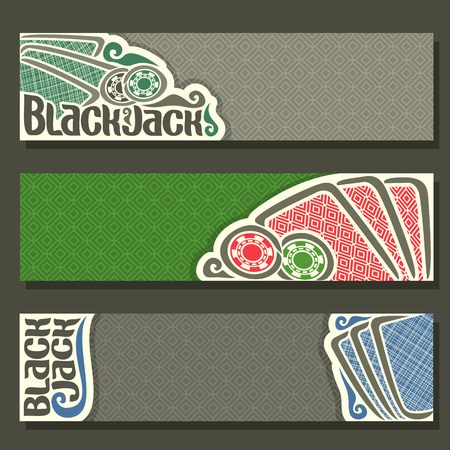 black jack: Vector horizontal Banner of Black Jack for text, blue playing cards back for gamble game blackjack on green felt table, cover banner for black jack, in header simple card, chips on texture background.