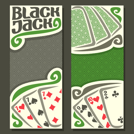 black jack: Vector vertical banners Black Jack for text, combination playing cards: 7 + 7 + 7 = 21 = 9 + 10 + 2 for gamble game black jack on gray felt table, banner for blackjack tournament, back card on texture background
