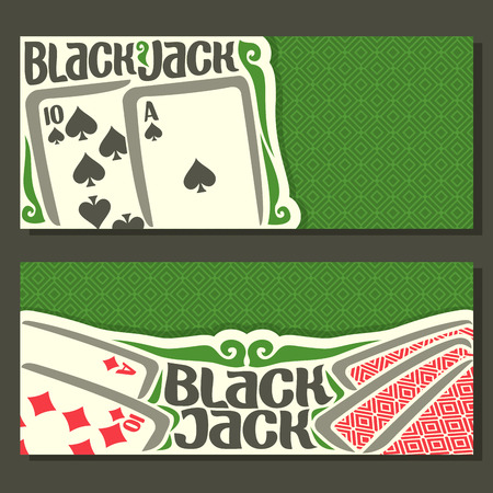 black jack: Vector horizontal banners of Black Jack for text: combination playing card of ace spades ten 10 diamonds suits for gamble game on green felt blackjack table in casino, banner for black jack tournament