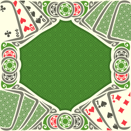 black jack: Vector image Black Jack for text on texture background, combination playing cards suits: 7, 9, 10, 2 for gamble game black jack on green felt table, blackjack or poker tournament, chips and back card.