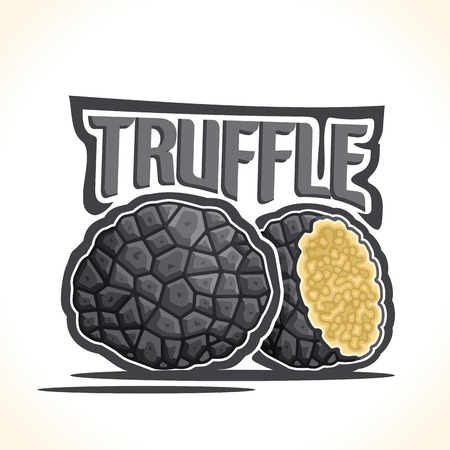 Vector logo Black Truffle Mushrooms: cut half burgundy gourmet black tuber mushroom, cartoon still life with lettering truffle, abstract label organic edible fungi, fresh exclusive condiments closeup.