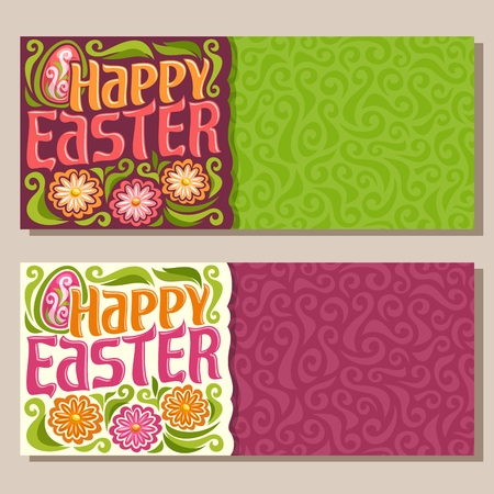 cartoon banner: Vector horizontal Banners for happy Easter holiday: greeting decorated card on green spring curve curly background, banner for easter with egg, flowers on red abstract curl art pattern with title text