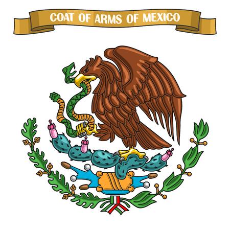 테마에 그림 멕시코의 국장, 국가 상징에 전 령 방패와 리본 제목 텍스트에서 멕시코 - 골든이 글의 상징 : 멕시코의 국장, 멕시코 공식 문장 스톡 콘텐츠 - 72311554