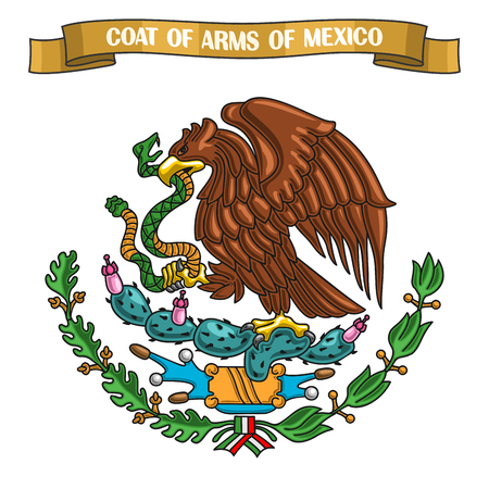 Illustration on theme Mexican Coat of Arms, heraldic shield on national state emblem and symbol of Mexico - golden eagle, on ribbon title text: coat of arms of mexico, mexican official heraldry Vettoriali