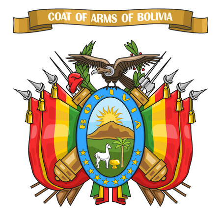 Vector illustration on theme Bolivian Coat of Arms, heraldic shield with national state flags and symbol of Bolivia - condor, on ribbon lettering coat of arms of bolivia, bolivian emblem heraldry.