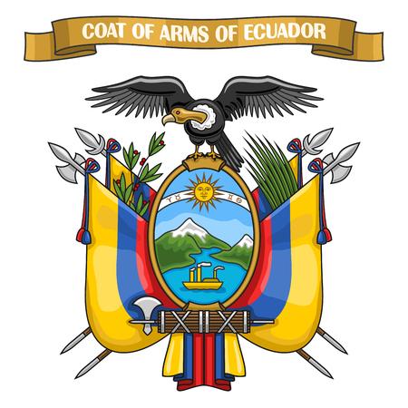 republic of ecuador: Theme Ecuadorian Coat of Arms, heraldic shield with national state flag, on blazon of Ecuador condor, on ribbon title text: coat of arms of ecuador, ecuadorian official heraldry