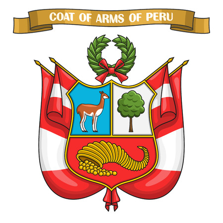 Peruvian Coat of Arms, heraldic shield on national state flags - Emblem of Peru, on ribbon title text: coat of arms of peru, peruvian official heraldry, symbolic emblem.