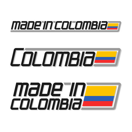 cachet: Illustration logo made in Colombia, three isolated Colombian flags images, national state flag and title text colombia on white background, official colombian banner of south america country.