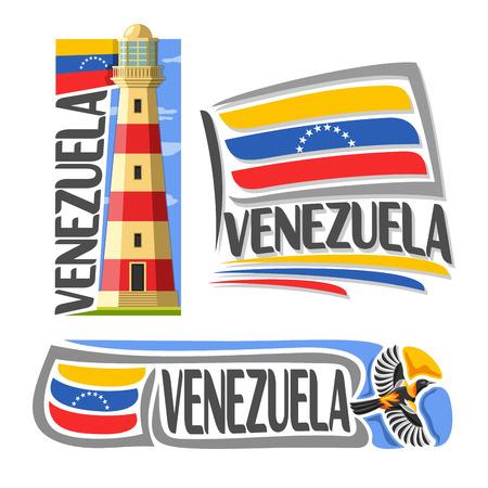 souvenir: Vector logo Venezuela, 3 isolated images: isla margarita lighthouse on background national state Flag, architecture symbol of Venezuelan Republic, simple flag venezuela near flying venezuelan troupial Illustration