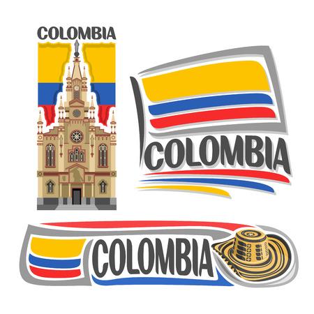 Logo vectoriel Colombie, 3 images isolées: église de Jésus Nazareno à Medellin sur fond drapeau de l'Etat national colombien, symbole de la République colombienne - chapeau sombrero vueltiao, drapeaux du pays colombien.