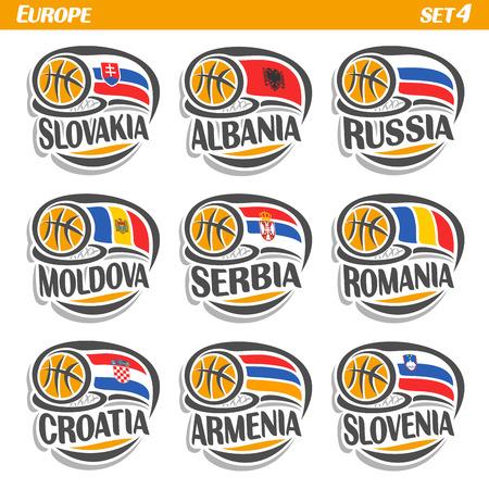 Banderas conjunto de vectores de los países europeos con pelota de baloncesto: Equipos Logotipo nacional de baloncesto, los países de Europa Sport Group, iconos europeo equipo de la bandera FIBA ??con la pelota naranja, banderas de la insignia del deporte de europa Logos