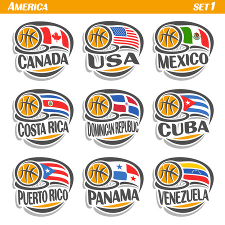 america's cup america: Vector set Flags of American Countries with Basketball Ball: Logo national basketball Teams, Sport group countries of America, icons american flag fiba team with orange ball, logo sport flags america. Illustration