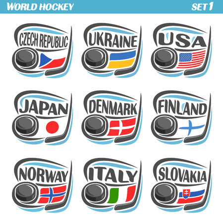 danish flag: Vector set Flags of European Countries with Ice Hockey Puck: Logo national ice hockey Teams, Sport group countries of Europe, icons european flag, IIHF world team with puck, logo sport flags of europe