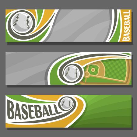 向量水平横幅为棒球:3卡通封面标题文本棒球主题,运动场地与钻石基地和飞行球,抽象标题横幅广告在灰色背景。