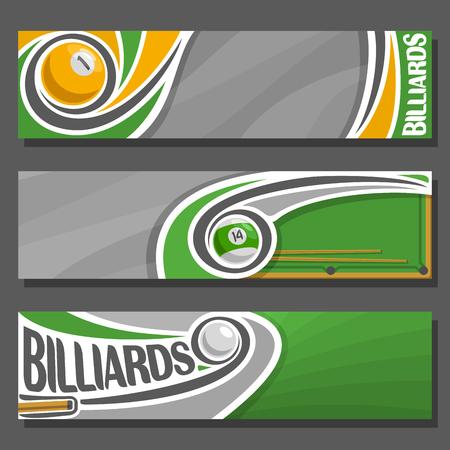 Vector horizontale banners voor biljart: 3 cartoon covers voor titel tekst op snooker thema, biljart tafel, 1, 14 nummers, cue hit pool bal, abstracte headers banner voor inschrijving op grijze achtergrond