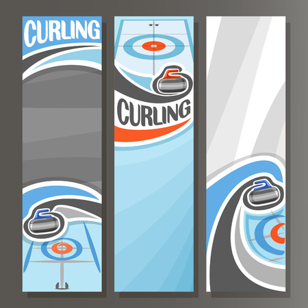 Vector Vertical Banners for Curling: 3 cartoon template for title text on curling theme, on ice rink granite rock, stone sliding in target, abstract vertical banner for inscription on grey background. Illustration