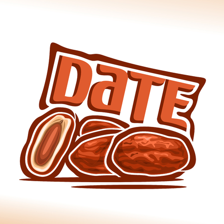 Vector logo Date Fruit: still life of heap dried dates, cut half exotic palm fruit for islamic ramadan fasting, abstract cartoon icon arabic sweet medjool with title text for label, isolated on white. Illustration