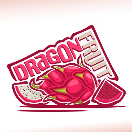 Vector logo Draakvrucht: stilleven van 3 gehele en gesneden plakjes draak fruit. Logo