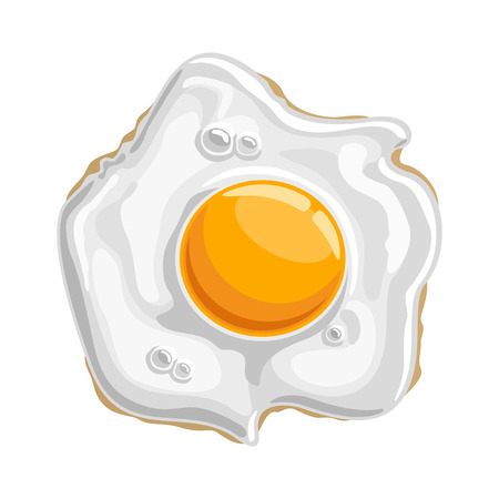 Vector illustration Fried shiny chicken Egg: isolated cooked white protein with 1 yellow yolk-sunny side, logo cartoon cooking fried egg-top view, abstract clip art of traditional crispy fry breakfast