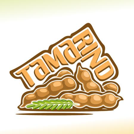 Fruit de tamarin: nature morte de gousse de tamarin à tas avec branche verte, groupe de fruits exotiques brun clair, icône de bande dessinée abstraite tamarindus indica avec texte du titre de l'étiquette.