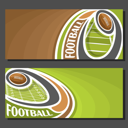 Vector banners for American Football game: thrown football ball on curve trajectory flying above sports field, 2 tickets to sporting tournament with empty for title text on brown abstract background.