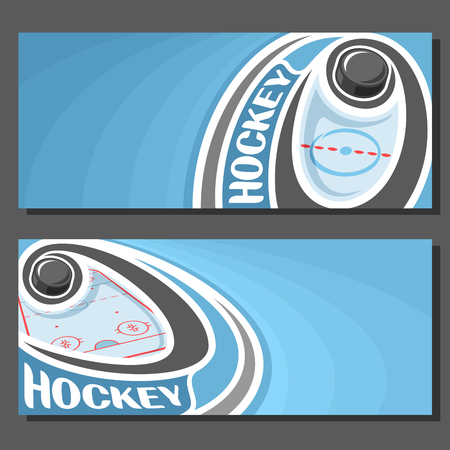 Vector banners for Ice Hockey game: hockey puck on curve trajectory flying above sports ice rink, 2 template tickets to winter sporting tournament with empty for title text on blue abstract background Illusztráció
