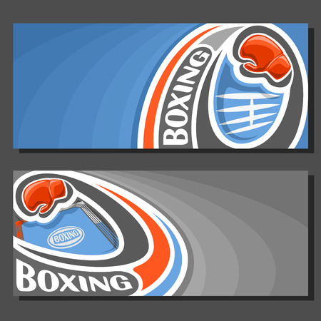 jab: Vector banners for Boxing: 2 template tickets to sports fight with field for title text on blue abstract background, red boxing glove on curve trajectory fly above empty boxing ring with white ropes. Illustration