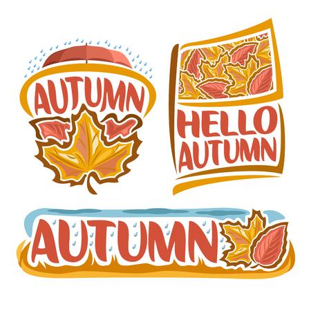 Logo vectoriel de la pluie automnale: icône du temps d'automne, gouttes de pluie tombant sur un parapluie rouge, drapeau avec fond de feuillage d'art de feuille d'érable, texte du titre: Bonjour l'automne, bannière design de la nature automnale pluvieuse. Logo