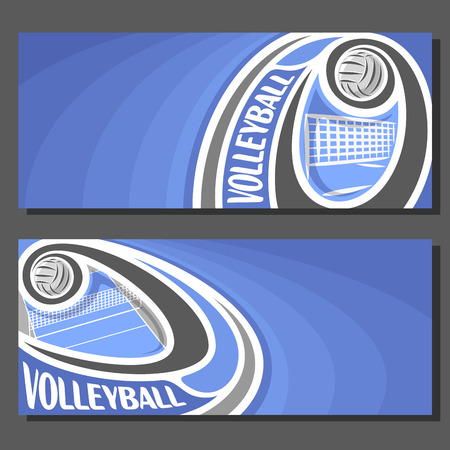 thrown: Vector banners for Volleyball game: thrown volleyball ball flying on curve trajectory above net on court, 2 tickets to sporting tournament with empty field for title text on blue abstract background.