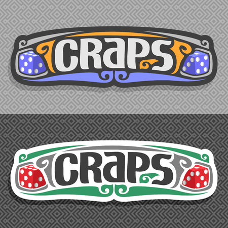 Vector logo for Craps gamble: pair blue gaming Dice with inscription title text - craps on gray repeat seamless pattern, two red gambling dice cubes on grey simple geometric art background for casino.