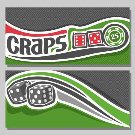 thrown: Vector banners for Craps gamble: inscription title text on card - craps, 2 red dice cubes with combination 6: 5, 1: 4, Green Chip nominal 25 on texture background, thrown grey dice flying on trajectory. Illustration