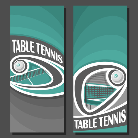Vector Vertical Banners for Table Tennis: 2 layouts for title text on table tennis theme, ping pong ball flying above net, abstract art banner for inscriptions on black background, sport invite ticket