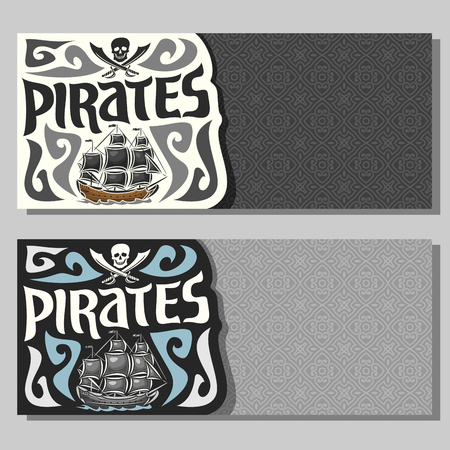 schooner: Vector horizontal banners for Pirate theme: skull and crossed sabers on gray abstract background, logo jolly roger, 2 invite flyers for title text of kids pirate party, old sail ship, pirate clip art