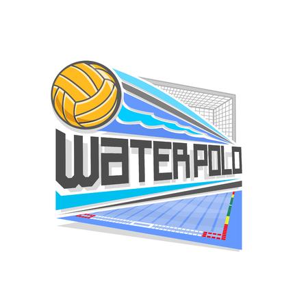 Vector logo voor Waterpolo-spel: gegooid geel waterpolo bal vliegt op een traject in een doel met een net, boven blauw zwembad, abstract pictogram voor waterpolo sportteam met opschrift titel tekst