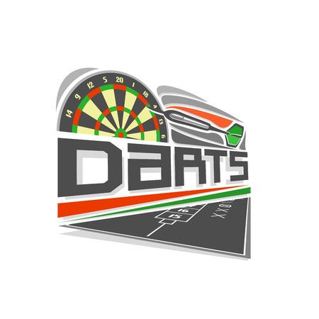 thrown: A Vector logo for Darts game: thrown green arrow arrow on a dartboard.