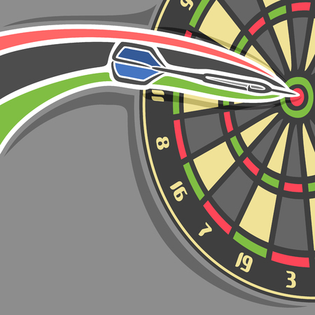 Vector poster for Darts game: throwing Arrow in bullseye of dartboard, arrow flying on curve trajectory in playing target board, grey background for title text on darts theme, accurate throw in goal.