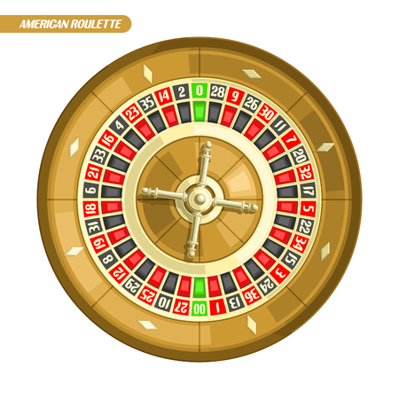 Vector illustration of Roulette Wheel: american roulette with double zero and golden wheel for online casino, top view, isolated on white background, roulette logo for gambling with text, gamble icon. Illustration