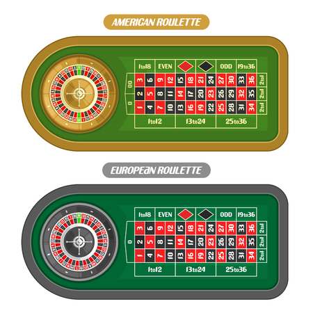 Vector image of Roulette Table: american roulette with double zero and golden wheel top view, european or french roulette table with silver wheel isolated on white background for online gambling games