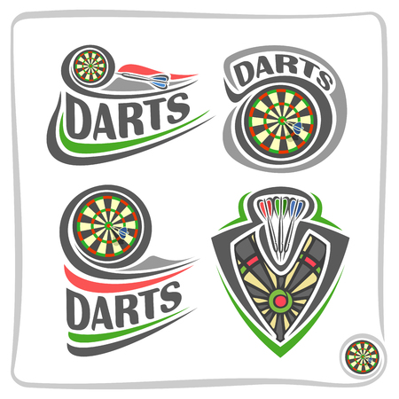 Vector set icons for Darts game: thrown arrow in bullseye of dartboard, 4 abstract clip art logo with title text - darts, graphic image of sports emblem shield, isolated on white.