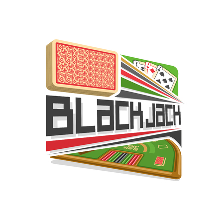 jack pack: Vector logo for Blackjack gamble: red deck of playing cards, three different suits, title text - black jack, abstract icon with green table for gambling game, symbol of blackjack for casino club