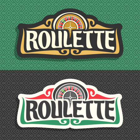 Vector logo for Roulette gamble: 2 banners with playing wheel, vintage font of lettering title text - roulette on gray pattern, icon on green background for gambling game, roulette symbol for casino.