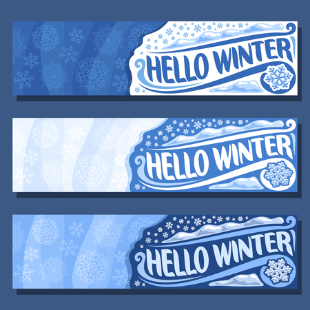 Vector horizontal banners for Winter season: blue snowflakes background, 3 invite flyers for christmas holiday, three winter time layouts for greeting xmas text with art title inscription hello winter