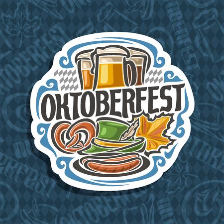 Vector logo for Oktoberfest on blue harlequin pattern: pilsner beer in 3 glass mug, lettering title - oktoberfest, pretzel, green hat for fest, oktober maple leaf, oktoberfest icon on rhomb background