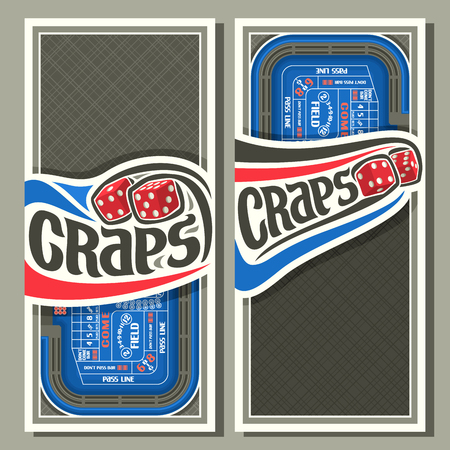 thrown: Vector vertical banners for craps gamble: thrown pair red cube dices flying on blue craps table, lettering title - craps, layouts with frame on abstract gray background for text on gambling game theme Illustration