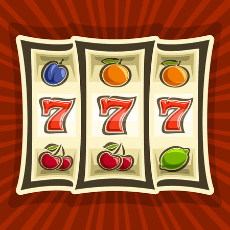 Vector poster for Slot Machine theme: gambling logo for online casino on background of rays of light, gamble game icon with classic bonus win 777, on reel of slot machine classic fruit lucky symbols.