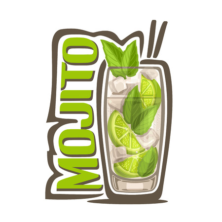 Vector illustration of alcohol Cocktail Mojito: full glass with transparent cocktail, sliced ??lime, cubes of ice, green leaves of herb mint, glassware with exotic long drink mojito on white background. Stock Illustratie