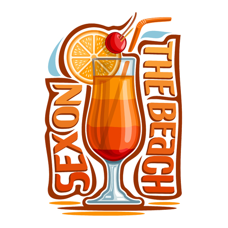Vector illustration of alcohol Cocktail Sex on the beach: glass with layered summer tropical cocktail, logo with lettering font title - sex on the beach, exotic orange long drink on white background.